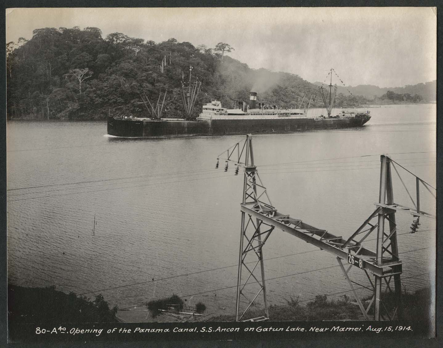Image for Panama Canal photo 1914 Opening of canal S S Ancon on Gatun Lake near Mamei