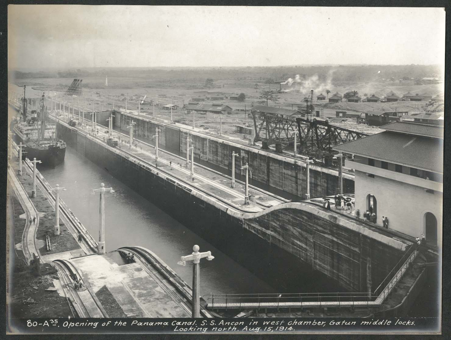 Image for Panama Canal photo 1914 Opening of canal S S Ancon at Gatun middle locks