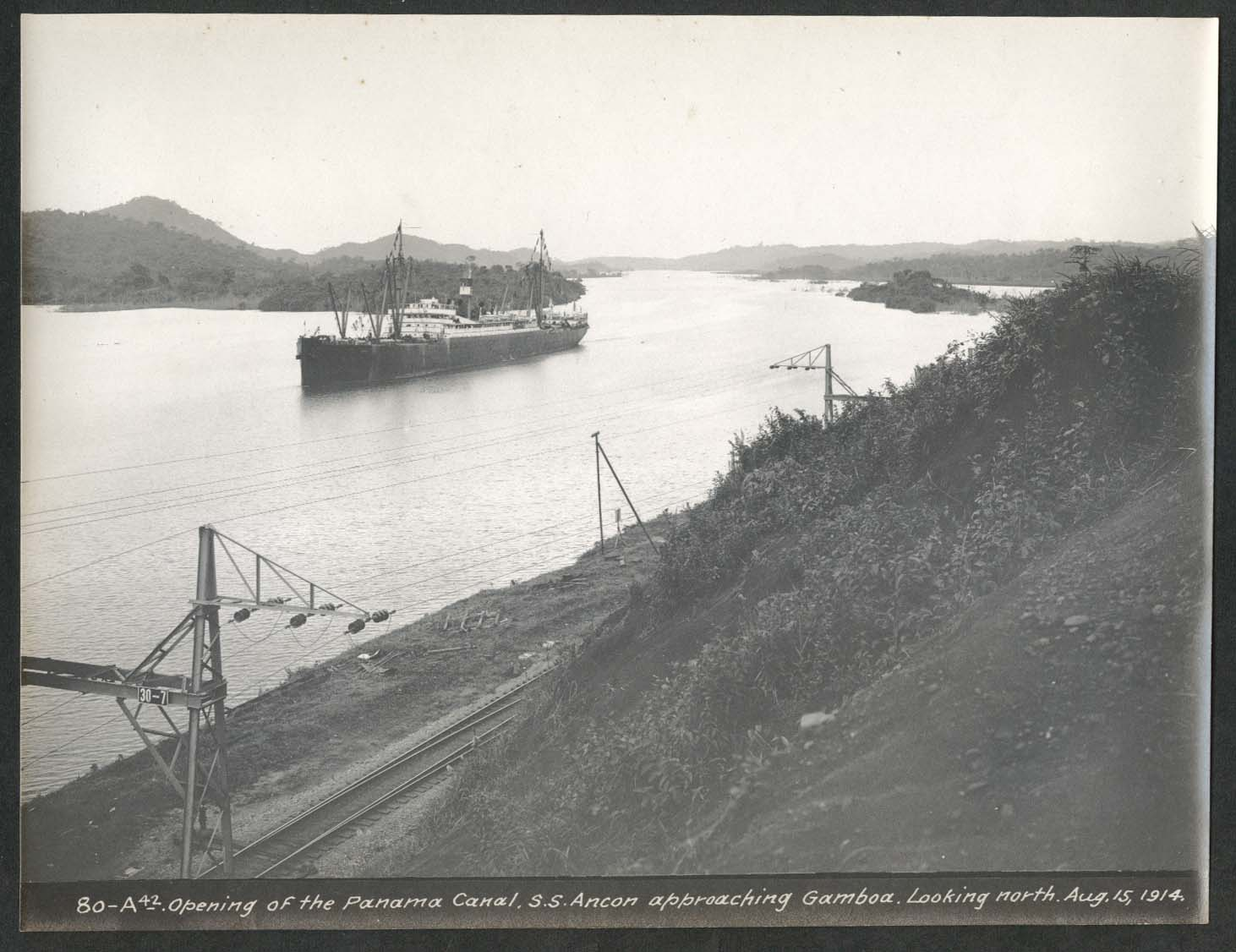 Image for Panama Canal photo 1914 Opening of canal S S Ancon approaching Gamboa