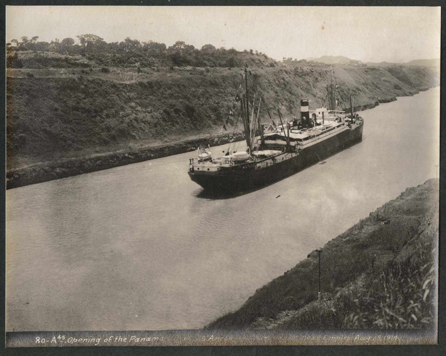Image for Panama Canal photo 1914 Opening of canal S S Ancon at Culebra Cut near Empire