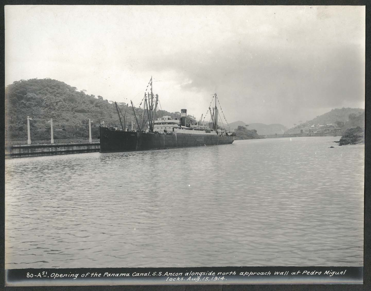 Image for Panama Canal photo 1914 Opening of canal S S Ancon at Pedro Miguel Locks