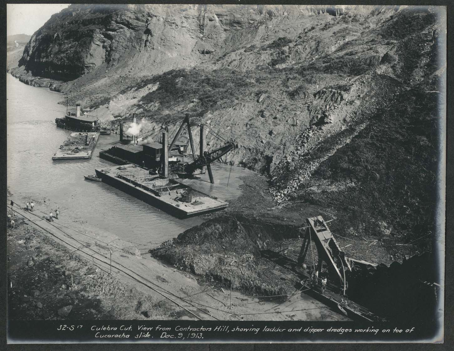 Image for Panama Canal photo 1913 Contractors Hill shows ladder & Dipper Dredges Culebra