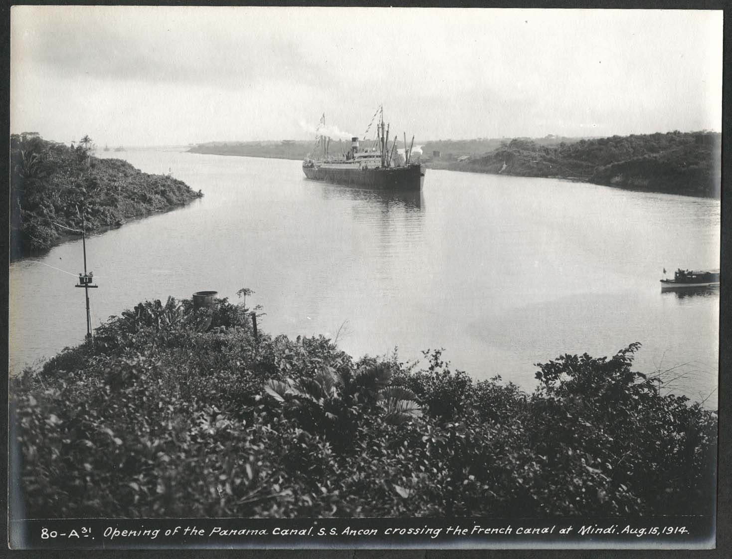 Image for Panama Canal photo 1914 Opening of canal S S Ancon crosses French Canal at Mindi