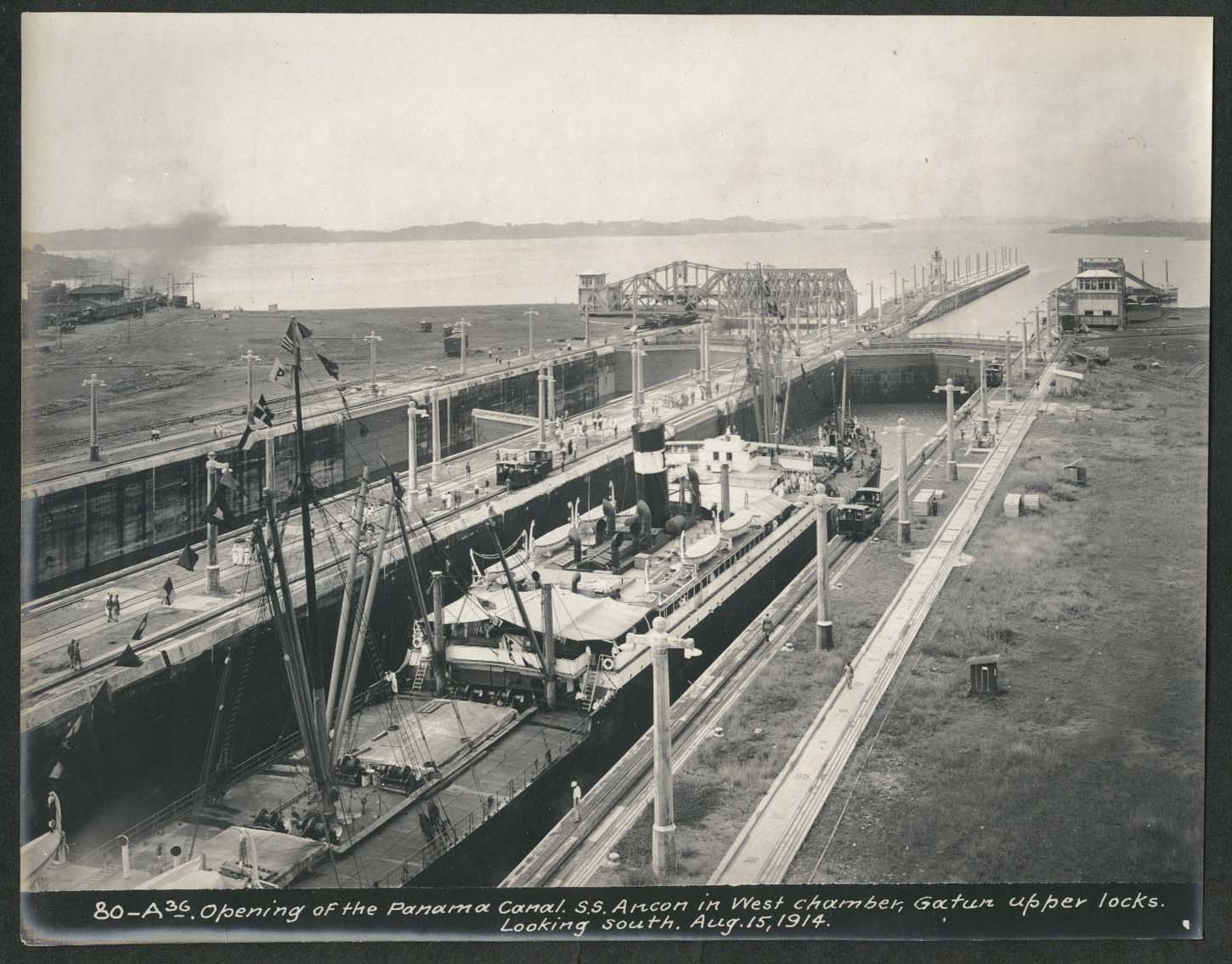 Image for Panama Canal photo 1914 Opening the canal S S Ancon W Chamber Gatun upper locks