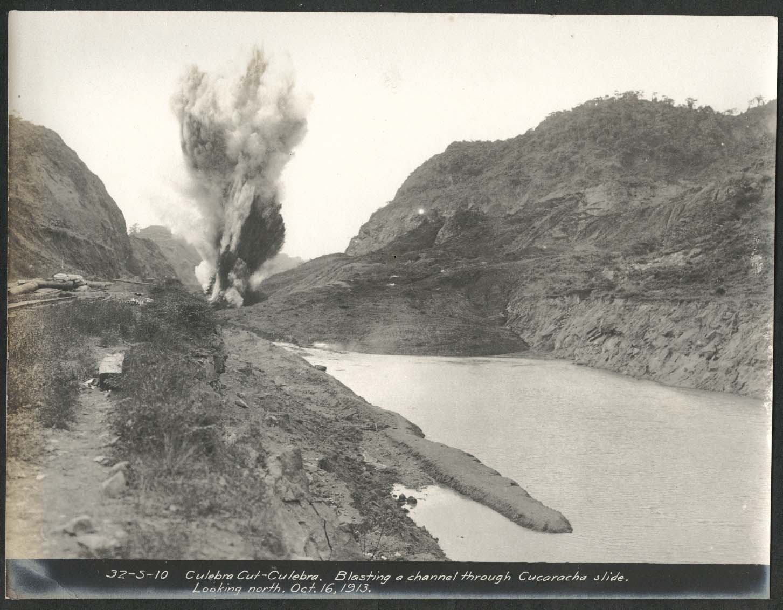 Image for Panama Canal photo 1913 Blasting a channel thru Cucaracha slide