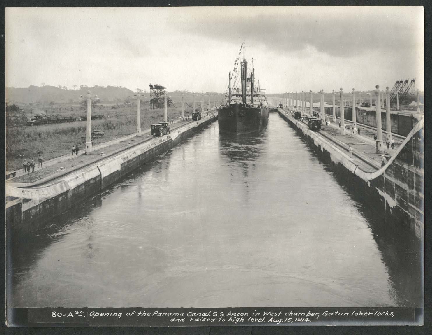 Image for Panama Canal photo 1914 Opening of canal S S Ancon W chamber Gatun lower locks