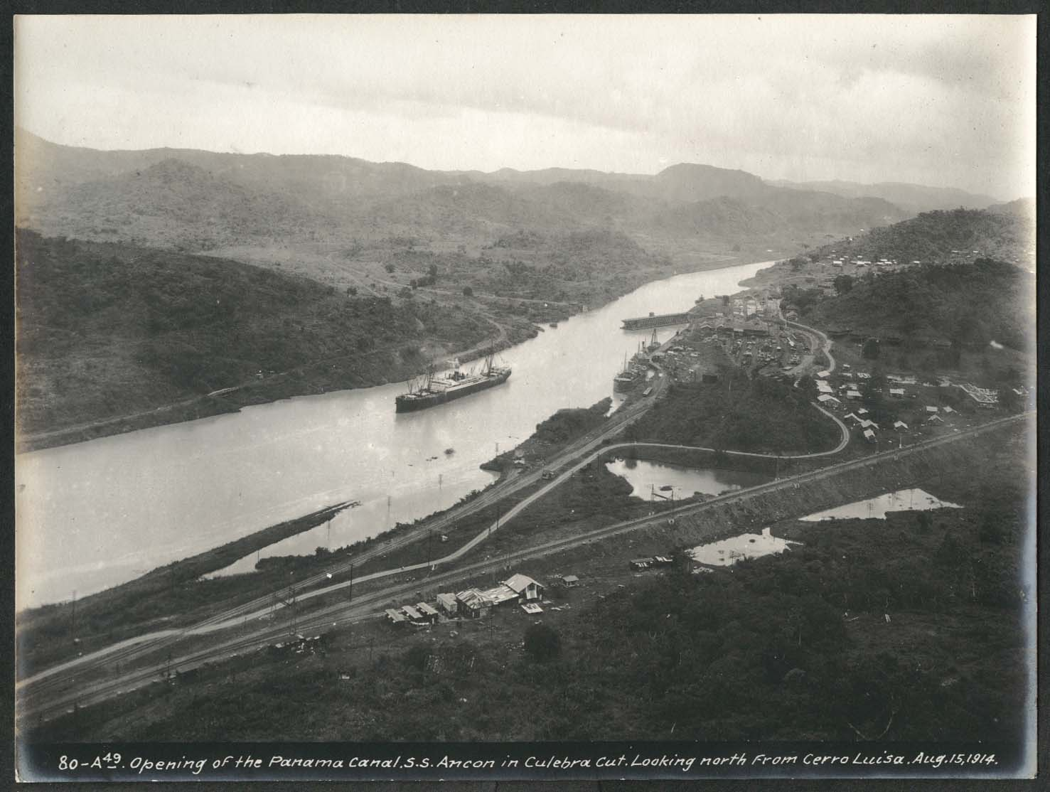 Image for Panama Canal photo 1914 Opening of canal S S Ancon Culebra Cut from Cerrio Luisa