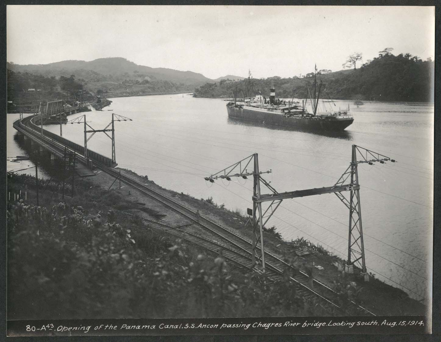 Image for Panama Canal photo 1914 Opening of canal S S Ancon passes Chagres River Bridge
