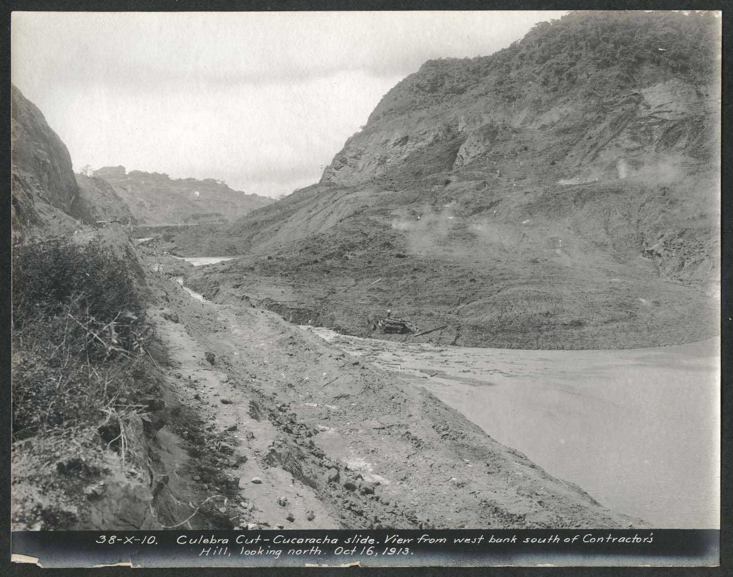 Image for Panama Canal photo 1913 Culebra Cut Cucaracha Slide from west bank