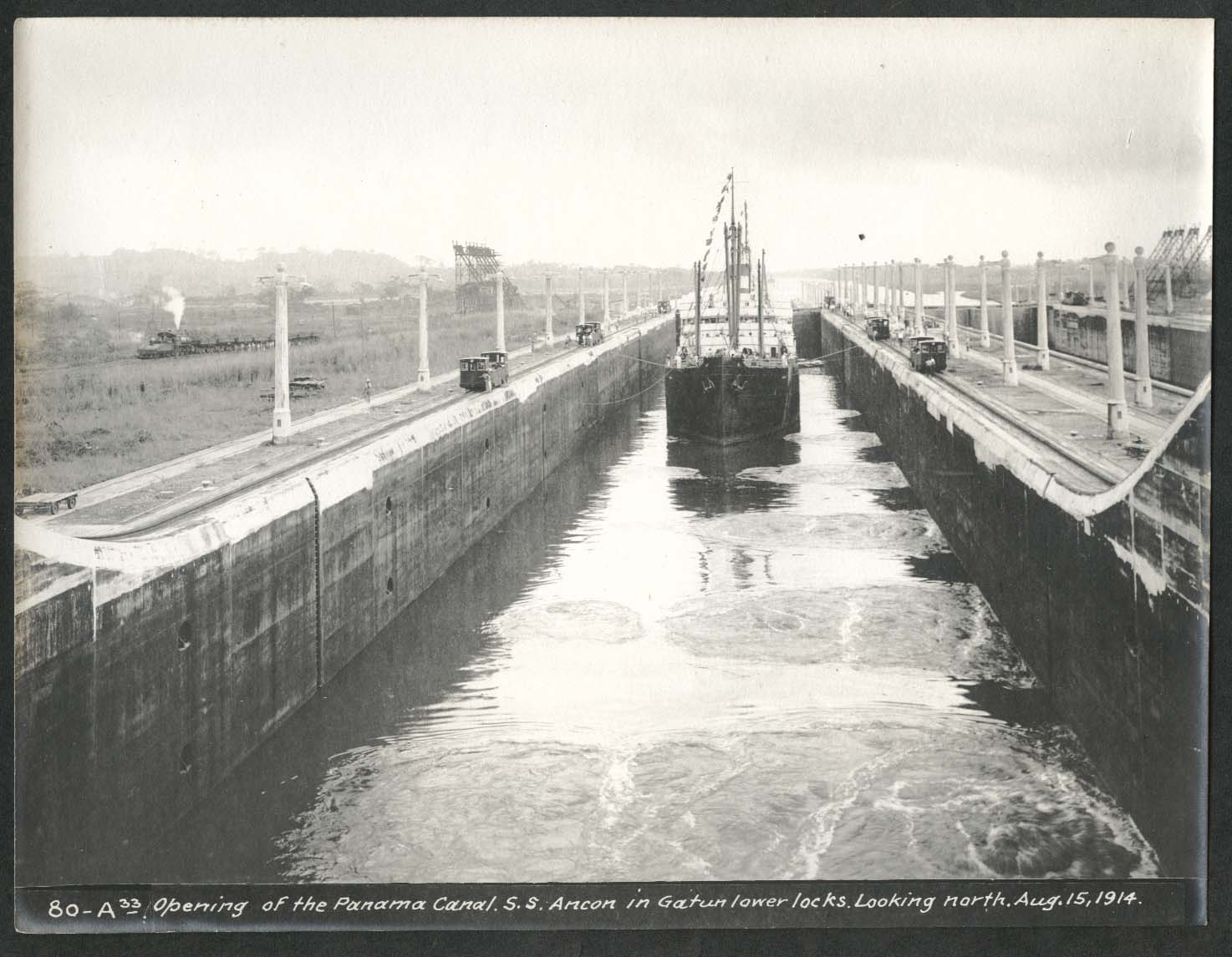 Image for Panama Canal photo 1914 Opening the canal S S Ancon at Gatun lower locks to N