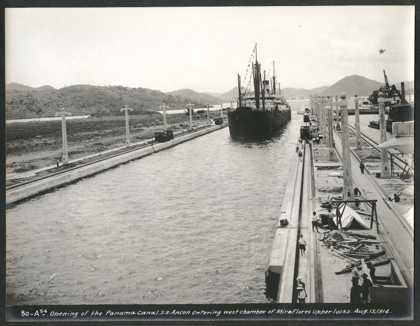 Image for Panama Canal photo 1914 Opening of canal S S Ancon enters Mura Flores Upper Lock