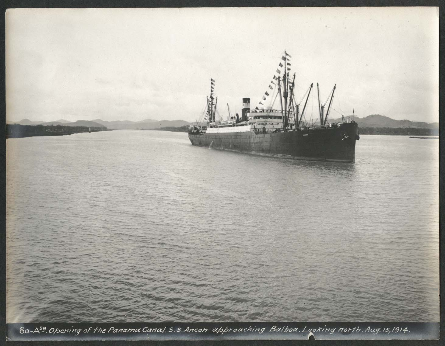 Image for Panama Canal photo 1914 Opening of canal S S Ancon approaching Balboa