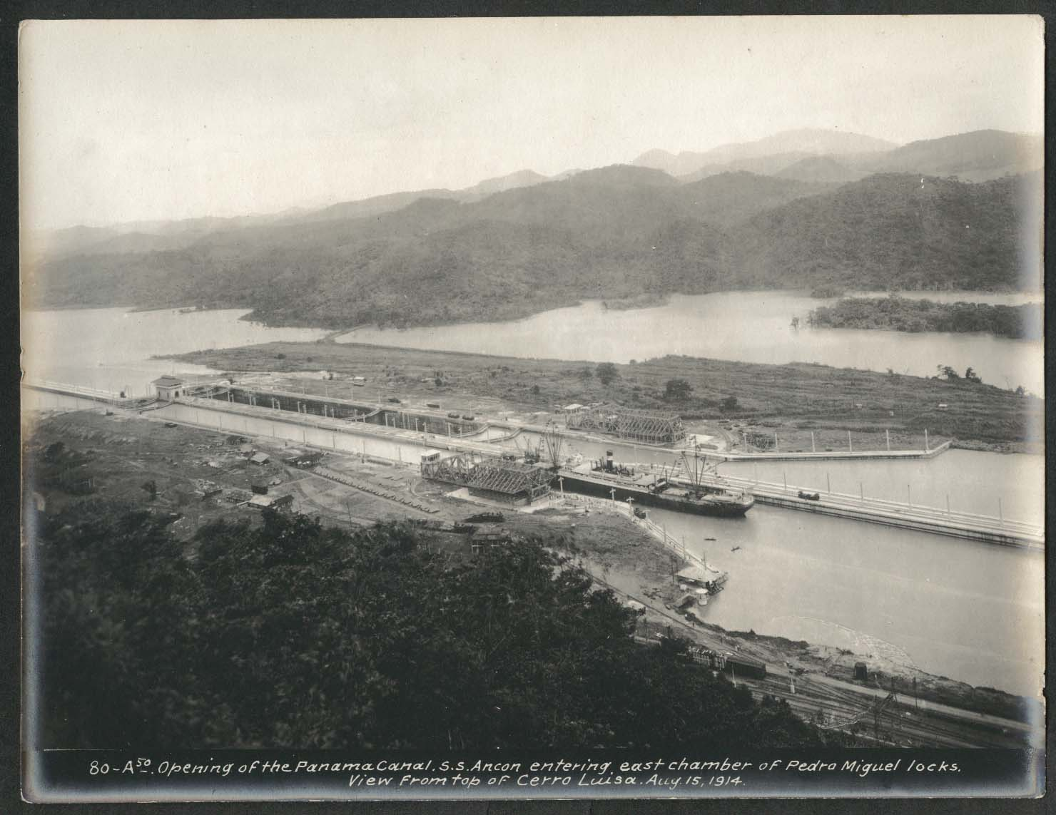 Image for Panama Canal photo 1914 Opening of canal S S Ancon entering Pedra Miguel locks