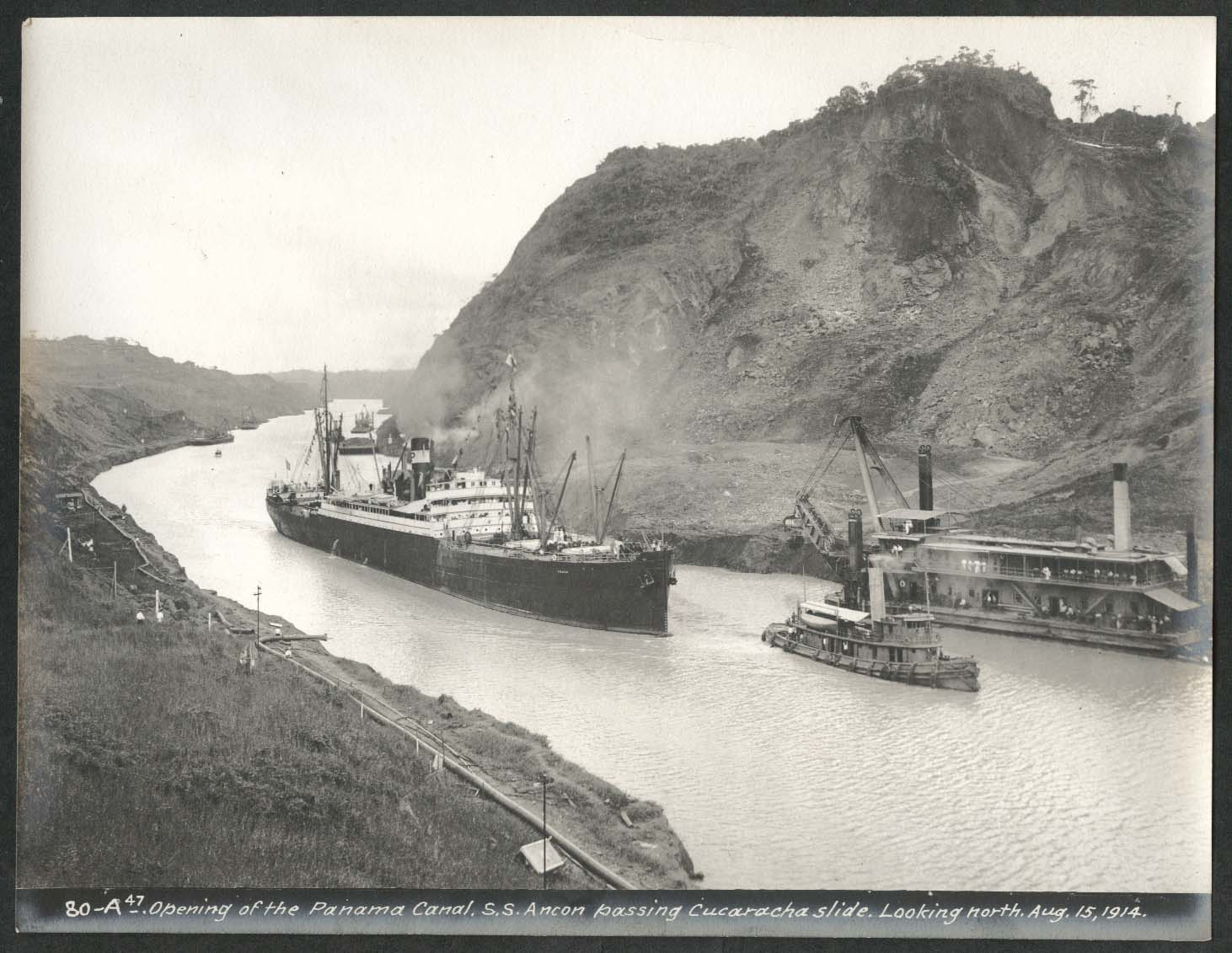 Image for Panama Canal photo 1914 Opening of canal S S Ancon passes Cucaracha slide