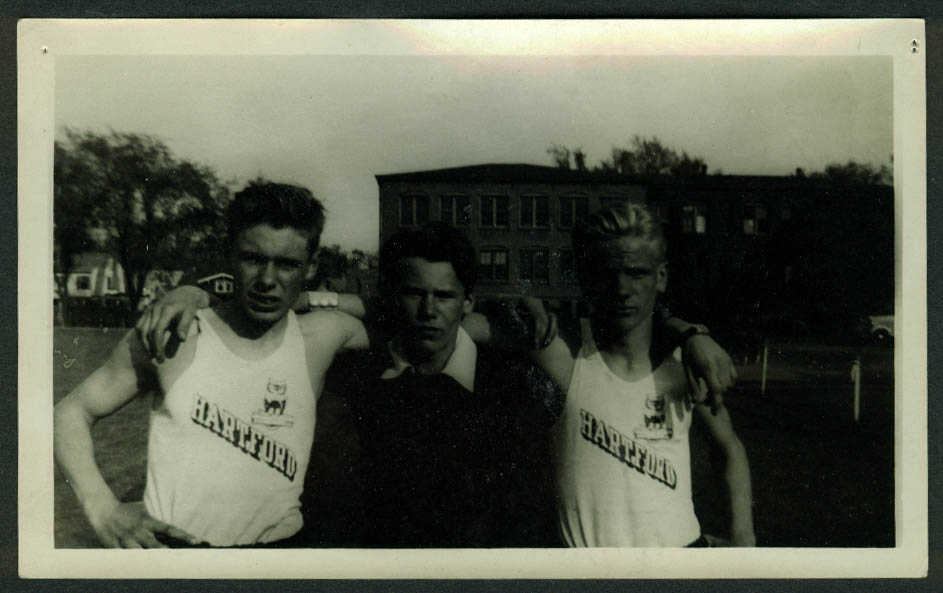Vic Jarmolovich & 2 teammates Greater Hartford Track Meet 5/30 1942 photo