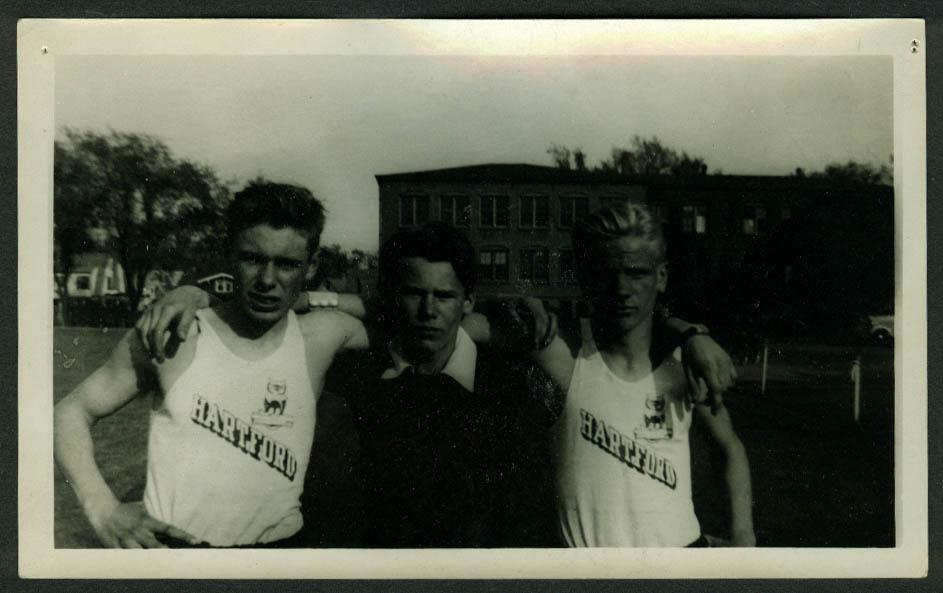 Vic Jarmolovich & 2 teammates Greater Hartford Track Meet 5/30 1942 photo