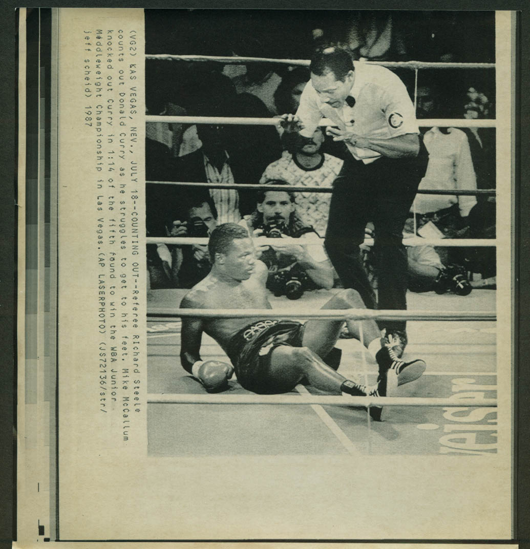 Donald Curry down for count vs Mike McCallum WBA title fight laserphoto 1987