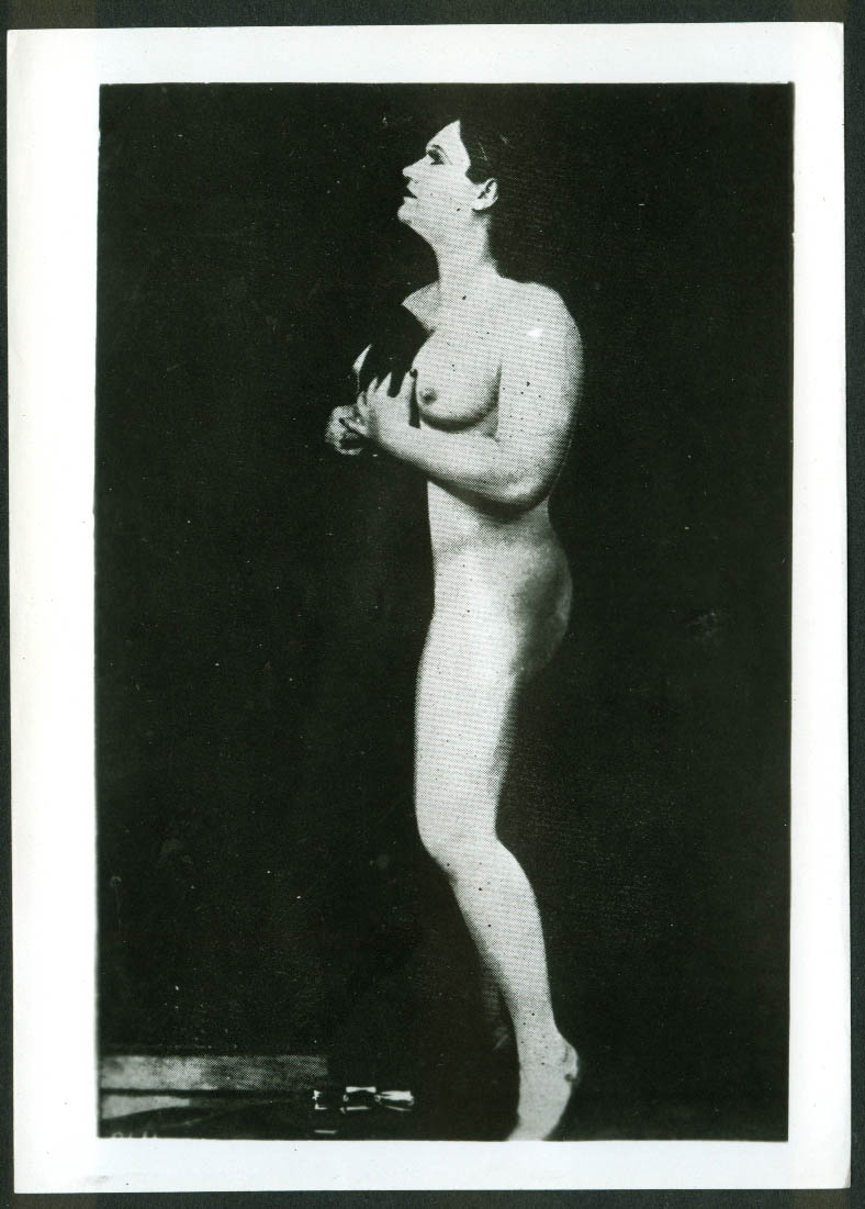 Topless burlesque stripper covering self partially photo ca 1930s restrike