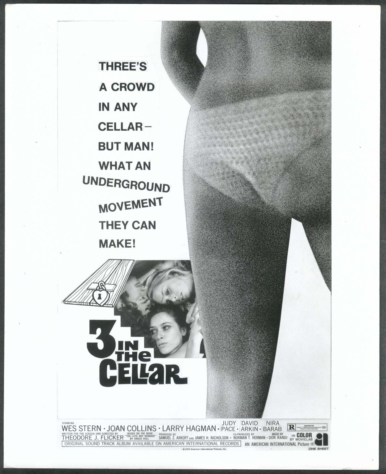 3 in the Cellar poster art 8x10 photograph 1970