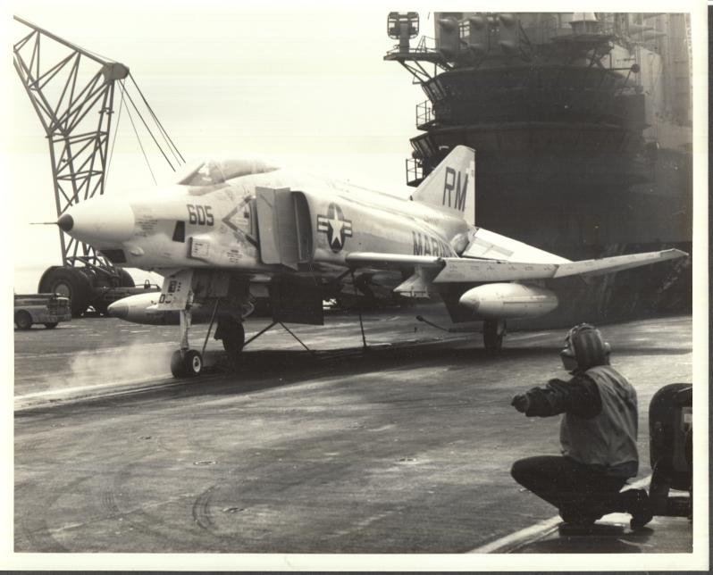 Image for USMC McDonnell Douglas F-4 Phantom F-4 aboard USS Midway photo ca 1960s