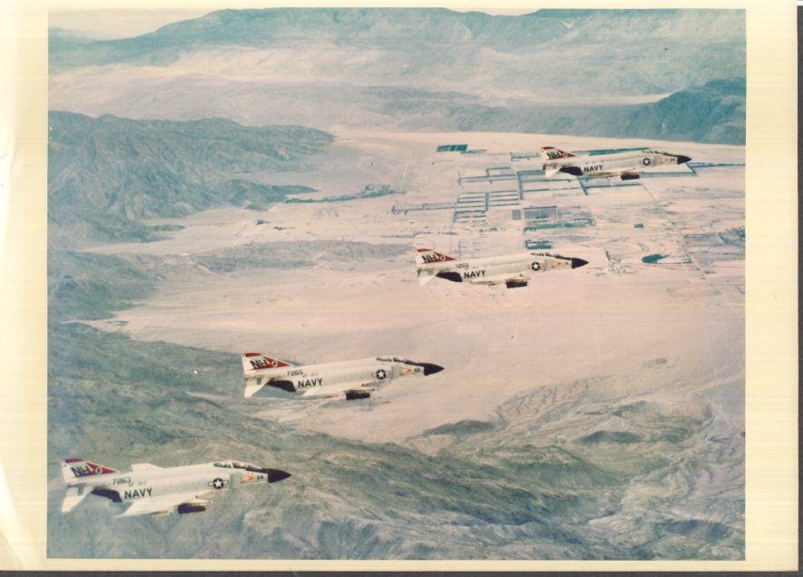 Image for Squadron of 4 Republic F-4 Phantom jets 7263 7265 7255 & ? color photo 1970s