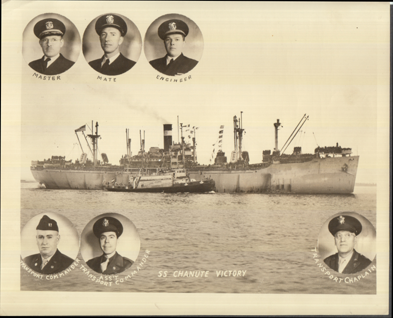 Image for S S Chanute Victory photo Victory Ship VC2-S photo with officers & chaplain 1945