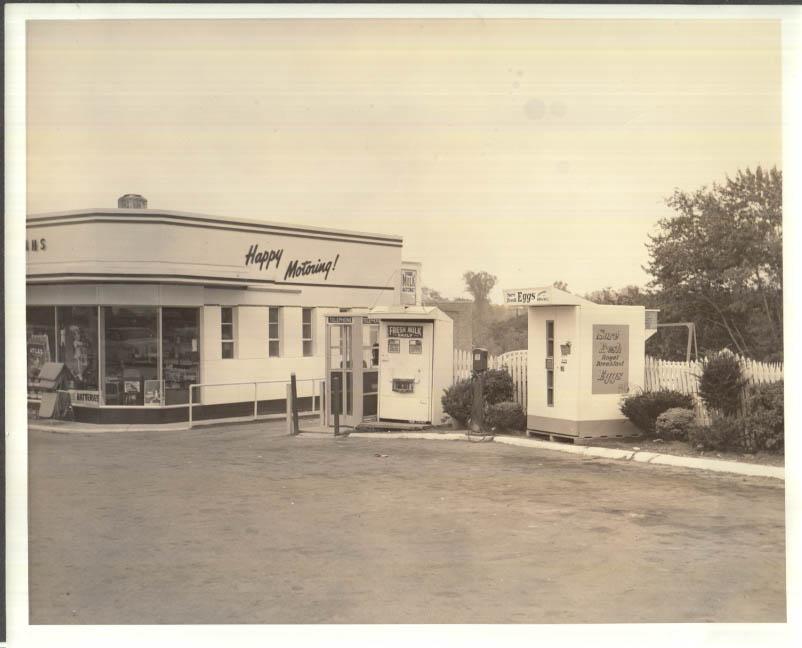 Image for Esso Gas Station Milk Automat Sure Fresh Egg Vending Machine photo 1950s
