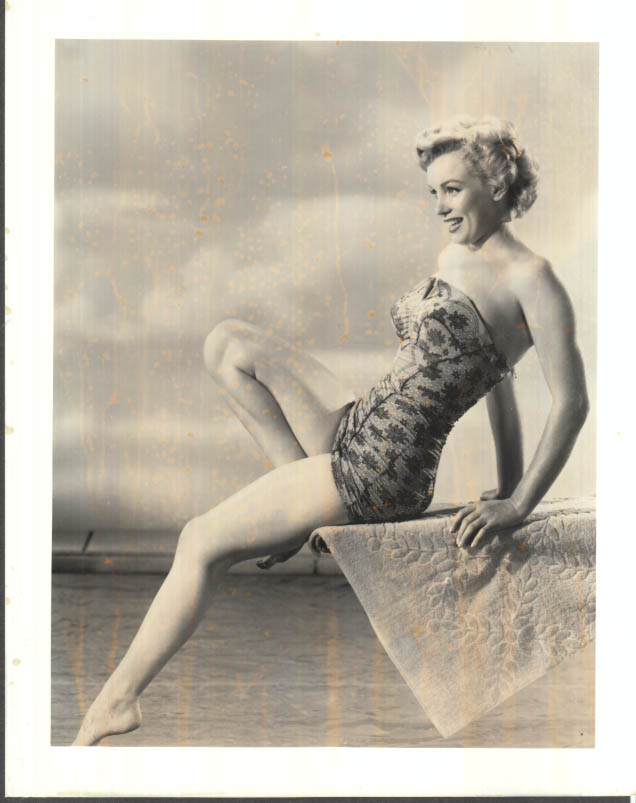 Image for Marilyn Monroe bathing suit on diving board photo 1950s restrike 1980s