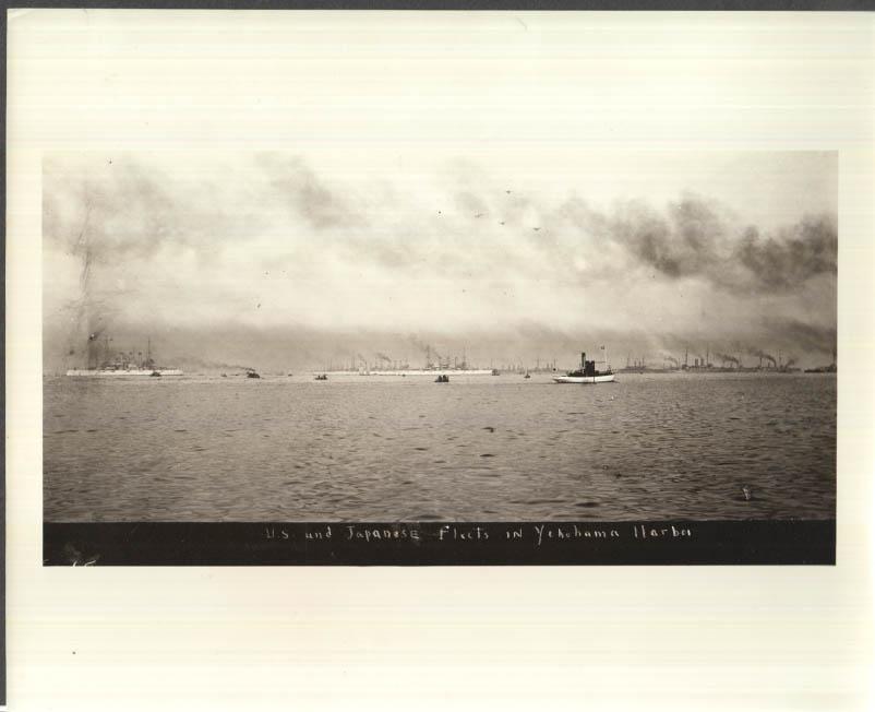 Image for T Roosevelt's Great White Fleet & Japanese Navy Yokohama Harbor 1908 photo 1958