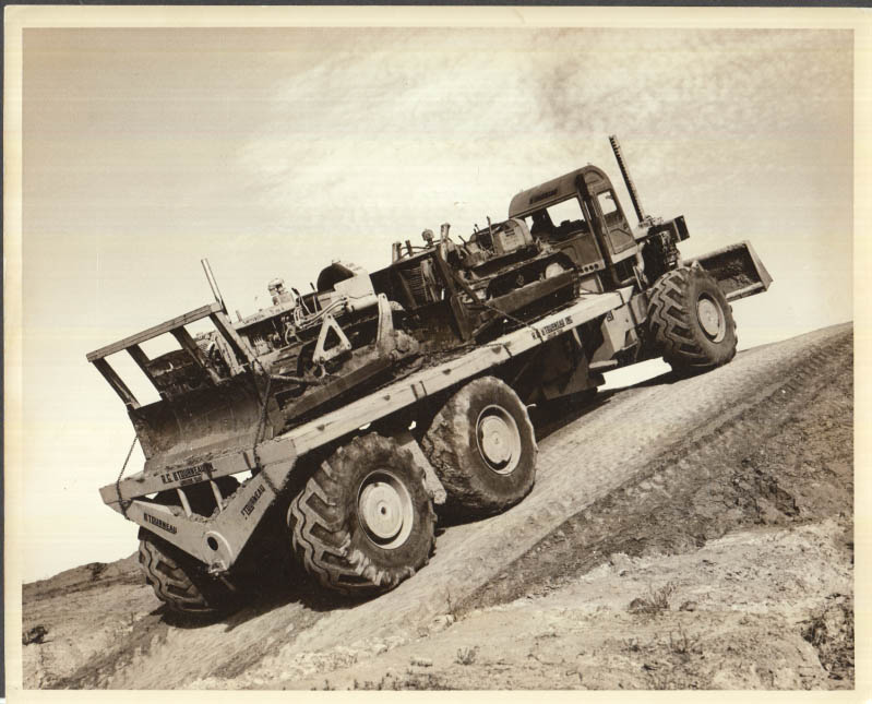 Image for R G LeTourneau flatbed hauling 2 Caterpillar tractors photo ca 1950s