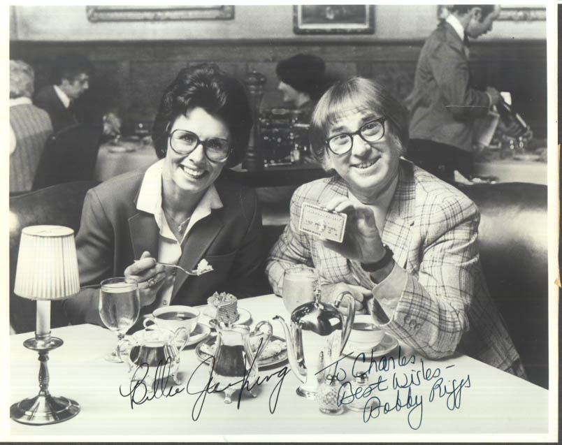 Image for SIGNED Bille Jean King Bobby Riggs American Express promo photo ca 1973