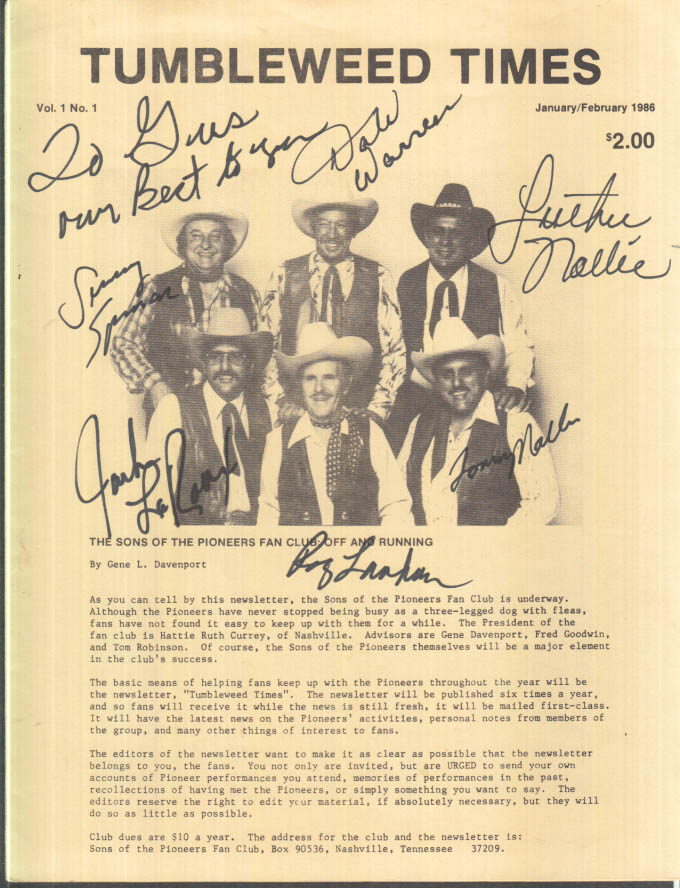 Sons of the Pioneers TUMBLEWEED TIMES 1-2 1986 SIGNED by 6 members