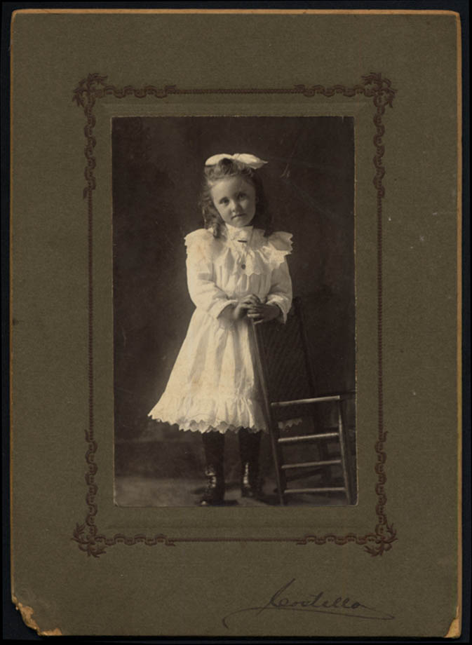 Image for Little girl Lila Whitney hairbow photo ca 1900 by Costello Great Barrington MA