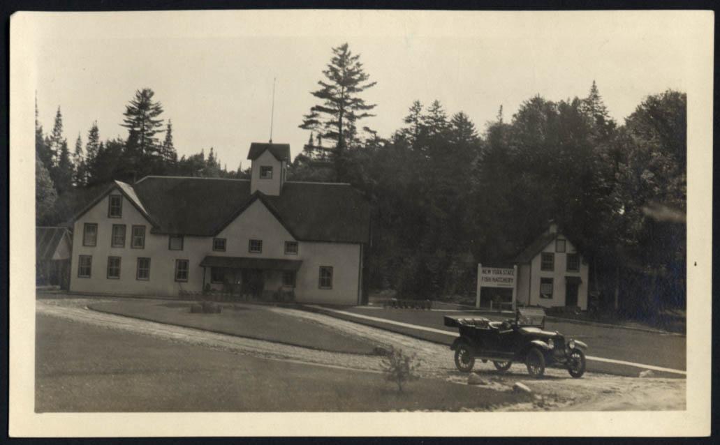 Image for New York State Fish Hatchery Adirondack NY photo 1917 buildings & touring car