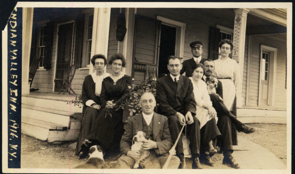 Image for Eight folks & three dogs at Indian Valley Inn Kerhonkson NY photo 1916