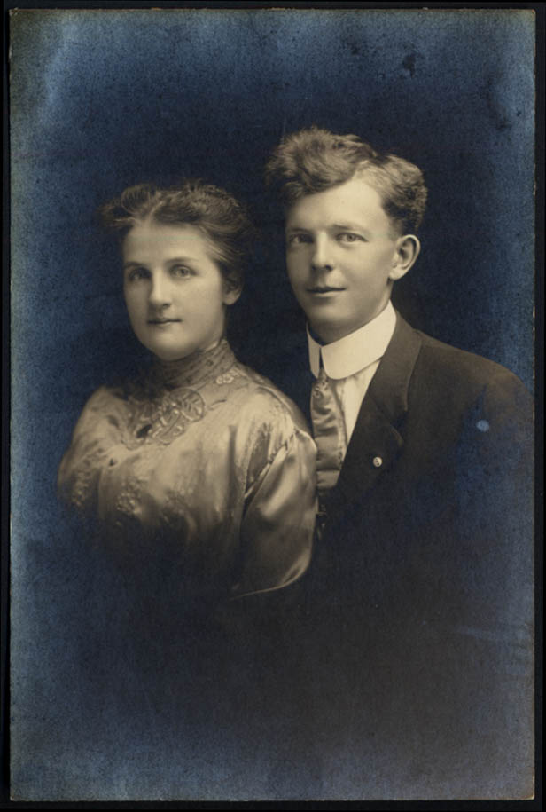 Image for Young couple Cora & William Barnes studio portrait photo ca 1910