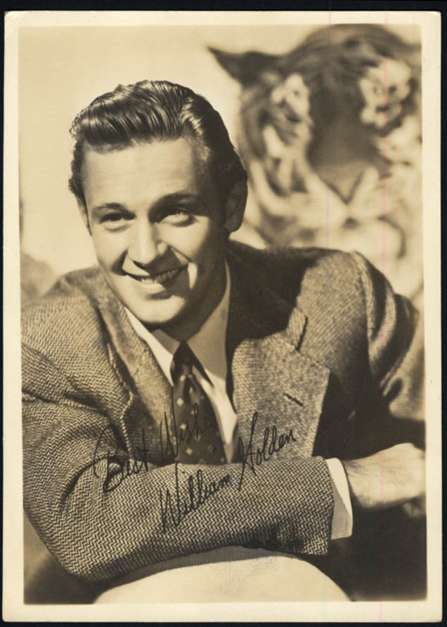 Image for Actor William Holden photo 1940s facsimile autograph