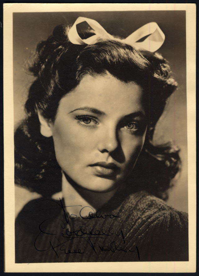 Image for Actress Gene Tierney photo 1940s autographed by an assistant