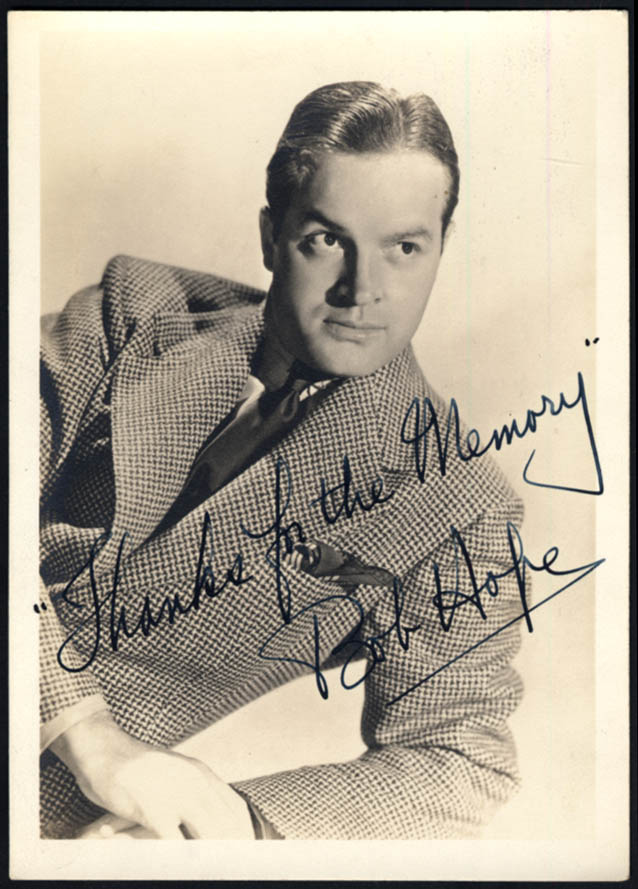 Image for Actor Bob Hope photo 1940s autographed by an assistant