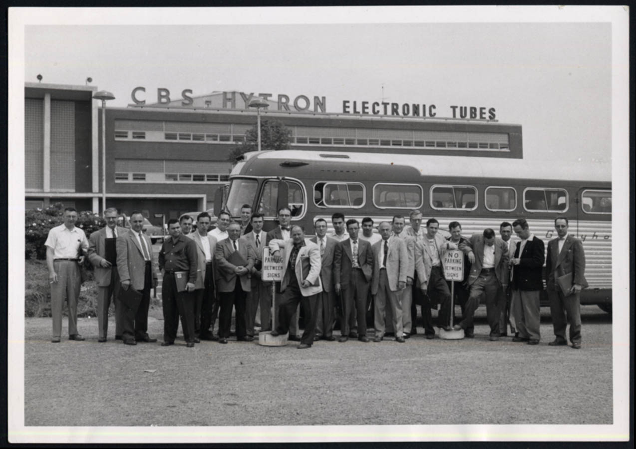 Image for CBS-Hytron Electronic Tubes Staff Bus Trip group photo ca 1950s