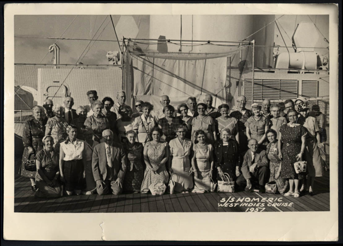 Image for Home Lines S S Homeric West Indies Cruise old folks group photo 1957