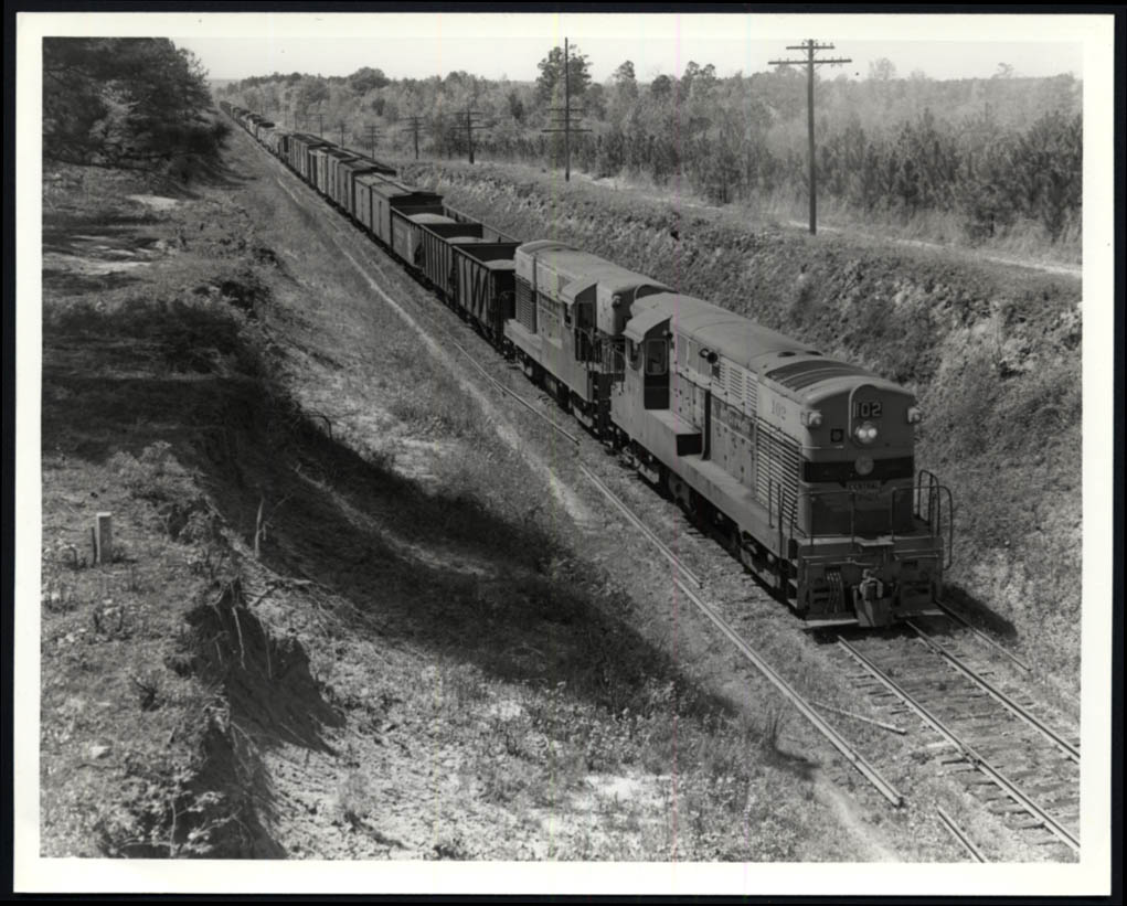 Image for Central of Georgia RR FM #102 + another Columbus-Macon freight train photo 1953