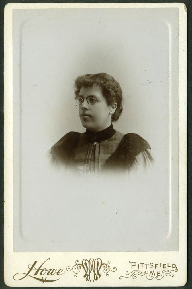 Mrs Betsey J Mason in pince nez cabinet photo by Howe Pittsfield ME 1890s