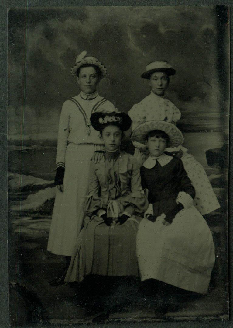 2 women 2 girls all in fancy dresses hats & gloves tintype