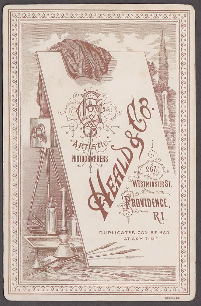 Sphinx Shriner button Franz Josef beard cabinet photo Heald Providence Ri 1880s