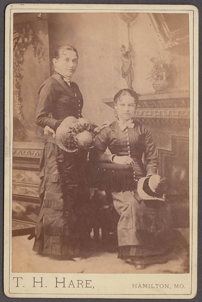 2 women straw hats studio cabinet photo T H Hare Hamilton MO 1880s