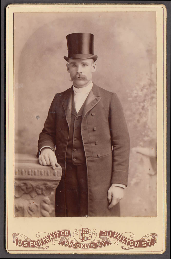Image for Man top hat handlebar mustache cabinet by US Portrait Brooklyn NY 1880s