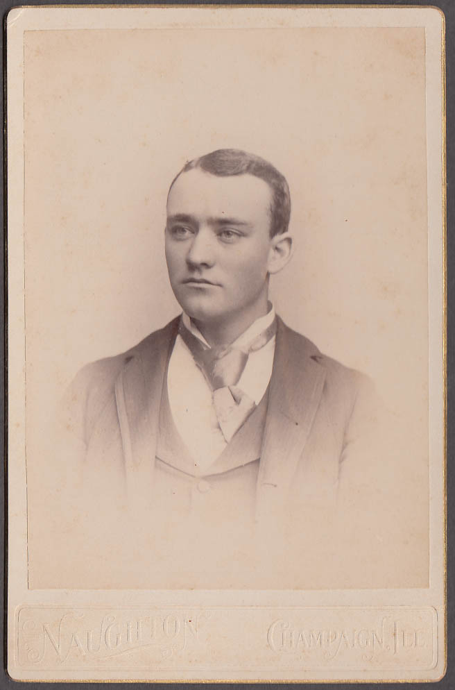 Image for Clean-shaven young man tie askew cabinet by Naughton Champaign IL 1880s
