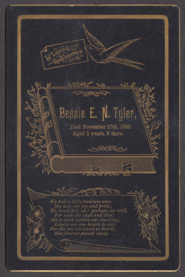 Bessie E N Tyler memorial cabinet card died 11/17 1889 age 5 yrs 9 days