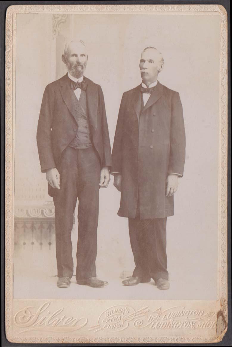 2 men standing full beard & mustache cabinet photo Silver Ludington MI